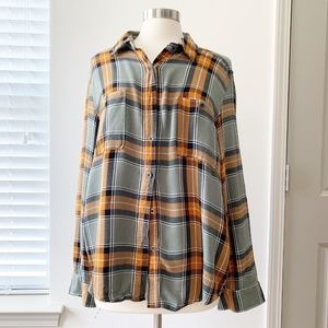 Kendall & Kylie Plaid Orange Flannel Button Up LG